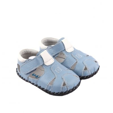 FREYCOO - Baby boys first steps soft leather shoes | Navy Blue sandals