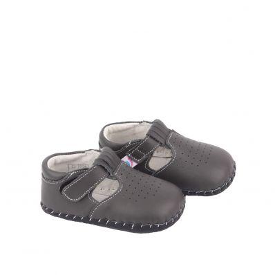 Chaussures premiers pas cuir souple sandales fermées BEAU GOSSE GREY