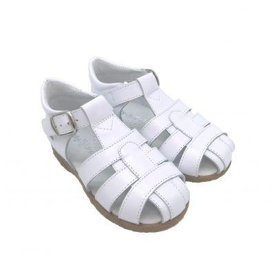 FREYCOO - Krabbelschuhe Babyschuhe squeaky Leder - Mädchen   Weiß sandalen gefärbte blumen