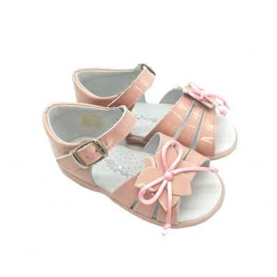 FREYCOO - Krabbelschuhe Babyschuhe squeaky Leder - Mädchen   Pink sandalen mit große rosa blume