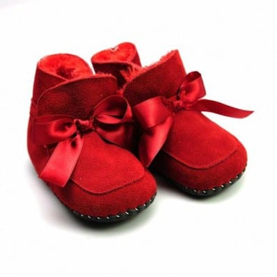 FREYCOO - Krabbelschuhe Babyschuhe Leder - Mädchen   Rot gefüllte Stiefel