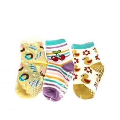 Lot de chaussettes antidérapantes CANARD, CERISE, BONBON