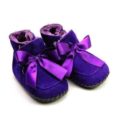 FREYCOO - Chaussures premiers pas cuir souple | Bottines fourrées violettes