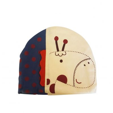 C2BB - Baby hat giraffe - one size | Beige and marine blue