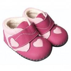 FREYCOO - Chaussures premiers pas cuir souple | Montantes fushia coeur rose