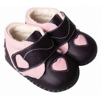 FREYCOO - Zapatos de bebe primeros pasos de cuero niñas | Botines morado oscuro corazón rosa