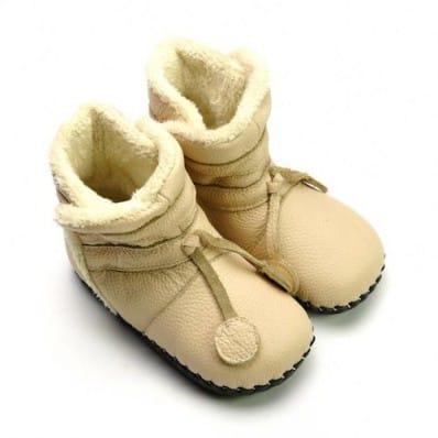FREYCOO - Chaussures premiers pas cuir souple | Bottines fourrées beige