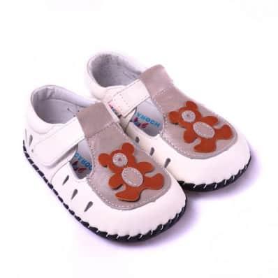 CAROCH - Chaussures premiers pas cuir souple | Sandales ourson rouge