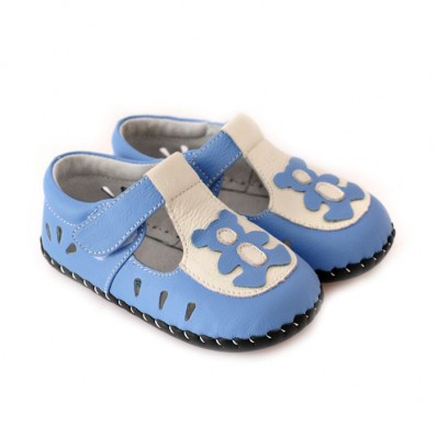 CAROCH - Baby boys first steps soft leather shoes | Blue bear sandals