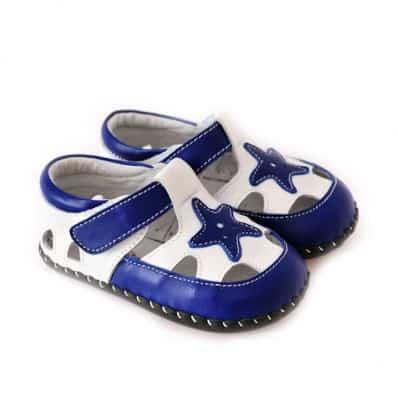 CAROCH - Krabbelschuhe Babyschuhe Leder - Jungen | Stern Blau