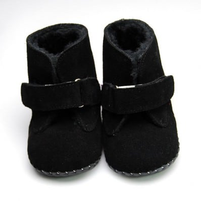 FREYCOO - Baby boys first steps soft leather shoes | Black bootees