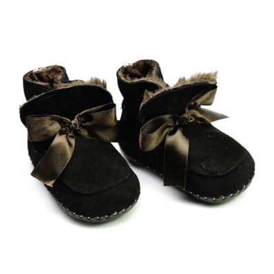 FREYCOO - Krabbelschuhe Babyschuhe Leder - Mädchen | Schwarze gefüllte Stiefel
