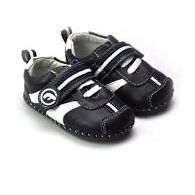 FREYCOO - Chaussures premiers pas cuir souple | Baskets noires et blanches