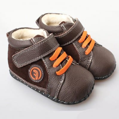FREYCOO - Baby boys first steps soft leather shoes | Brown orange laces