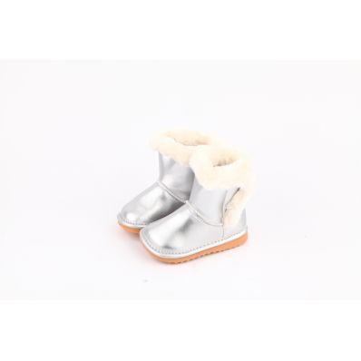 CAROCH - Squeaky Leather Toddler Girls Shoes   Pink bootees little cat
