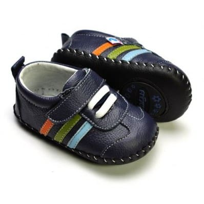 FREYCOO - Baby boys first steps soft leather shoes | Navy blue sneakers