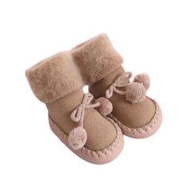 Chaussons-chaussettes douceur Chocolat C2BB - chaussons, chaussures, chaussettes pour bébé