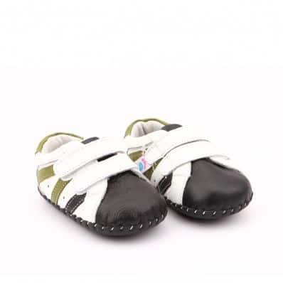 Chaussures premiers pas cuir souple baskets Double scratchs Navy
