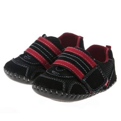 Little Blue Lamb - Chaussures premiers pas cuir souple | Baskets noires velcro rouge