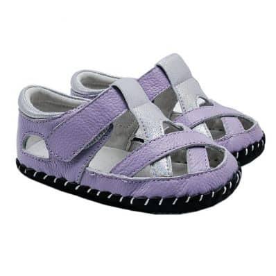 Chaussures premiers pas cuir souple sandales fermées Violine