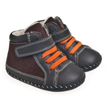 Little Blue Lamb - Chaussures premiers pas cuir souple | Bottines marron gris lacets orange